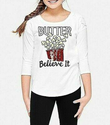 JUSTICE Girls Butter Believe It Popcorn Flip Sequin Shirt, NEW  14 16