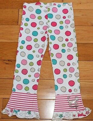Naartjie PINK DOT LEGGINGS sz 4 Girls Pink Stripe Ruffle Pants Sequin Cat