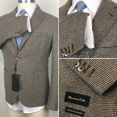 NWT Massimo Dutti Unconstructed Brown Houndstooth Blazer Sport Coat 42L NEW Tags