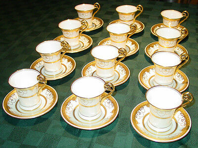 Antique Minton / Tiffany & Co Gold Beaded Cups & Saucers - G9430 - SET of 12