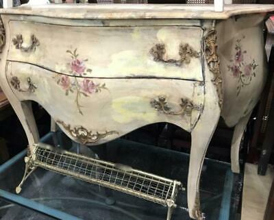 French Louis Style Two Drawer Distressed Painted Marble Top Ormolu Commode/Bombe
