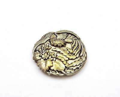 1930's Japanese Gilt Silver Plated NOT SILVER Belt Buckle Phoenix Bird