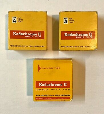 Lot of 3 Kodachrome II Double 8mm Color Movie Film Daylight 25 ft Sealed NIP