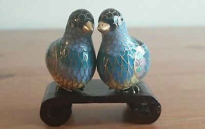Vintage Chinese Cloisonne Birds on wooden stand - set of 2