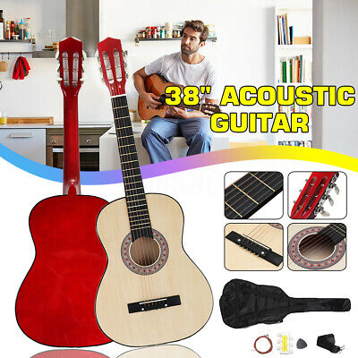 38'' Beginners Wooden Acoustic Guitar with Case, Strap, Tuner&Pick Steel Strings