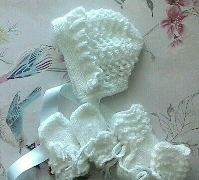 Baby Girls Hand Knitted Bonnet Bootees And Mittens 0 - 3 Months Baby Gift Idea