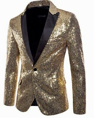Men's Blazer Gold Sequins Jacket, Elegant all seasons at a fabulous price $125