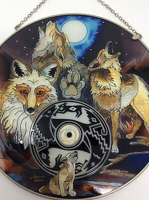 """AMIA Hand Painted Stained Glass Suncatcher Wolves & Wolf Pup Round 9"""""""