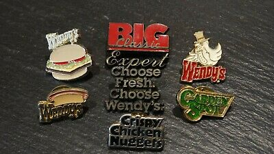 VINTAGE Wendy's Menu Collection (7 Pins) Crew Manager Employee Lapel Pin