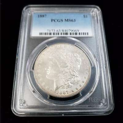 1887 US Morgan Silver $1 One Dollar PCGS MS63 Rare Better Date! Coin GA9069