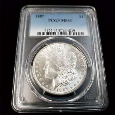 1887 US Morgan Silver $1 One Dollar PCGS MS63 Rare Better Date! Coin GA4839