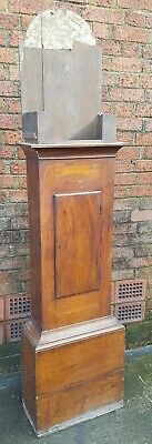 19thc Oak LONGCASE GRANDFATHER CLOCK CASE for arched dial or square dial