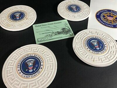 Camp David Presidential Retreat Memoribilia Coasters Senate Pass Joint Chiefs