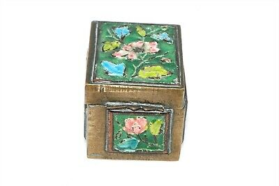 Antique China Floral Enamel Brass Stamp Box