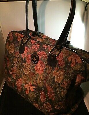 Atlantic Travel Bag Carry On Tote Green Floral Tapestry Overnight Bag