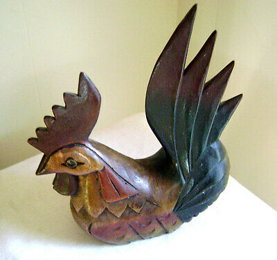 "Hand Carved LARGE 9"" Wooden ROOSTER Wood Crafted"