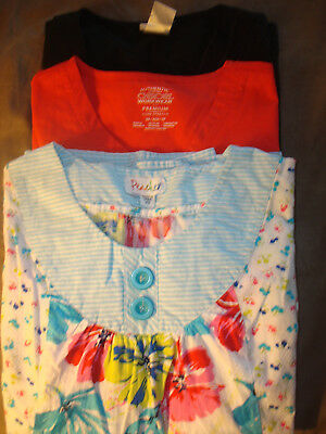 Scrub Top Lot of 3 Size XS Cherokee and Peaches 1 NWT and 2 Pre-owned. CUTE!