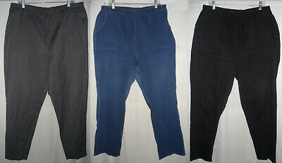 Blue Black Stretch Denim Pants Jeans Pull-on Elastic Waist Plus Size 3X 22 24 W