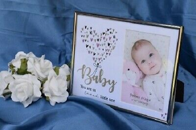 Baby Photo Frame Silver Pink Glitter Heart
