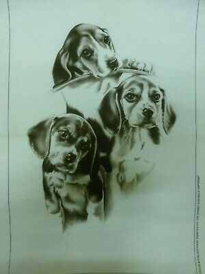 """Vtg Pre-Shaded Hobbytex Print w/instructions """"LOVE IS ALL WE NEED"""" Puppies #4560"""