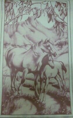 """Lge Pre-Shaded Hobbytex Print w/instructions""""A MOTHER'S PRIDE' Mare & Foal #4103"""