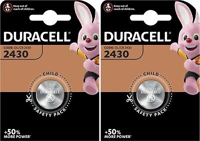 2 x DURACELL® CR2430 3V Lithium Coin Cell Button Battery DL/CR 2430 Expiry 2029