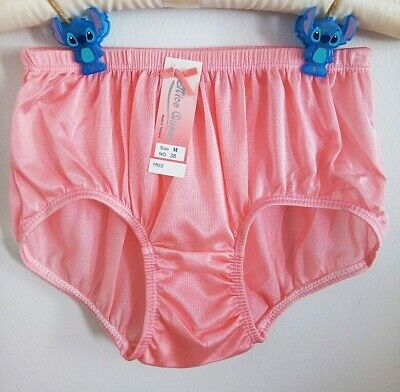M Hip 38 inches Vintage Women Panties Briefs Underwear Polyester Nylon O-Rose