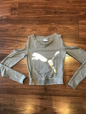 Puma Girls/womens Cut Out Shoulder Cropped Top Grey Size XXS/UK 6