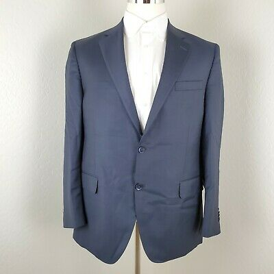 Peter Millar Mens Wool 2 Button Blazer Sport Coat Jacket in Navy Blue Size 44R