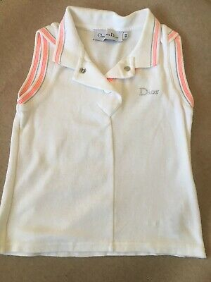 Dior girl's white tennis top 6Y