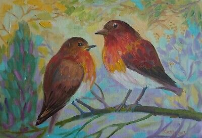 ZOPT852 hand painted two beautiful birds in forest OIL PAINTING art on CANVAS