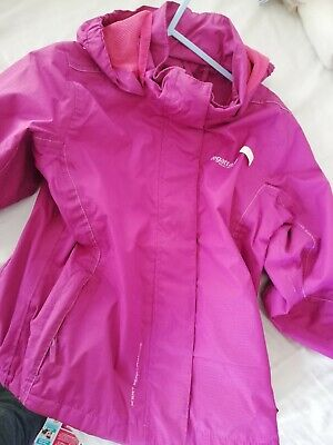 VGC Regatta Girls Pink jacket coat hooded waterproof Raincoat Age 5 - 6 Years