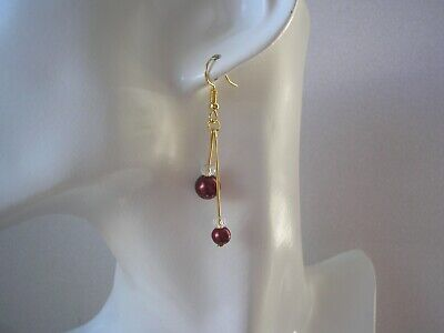 Double Long Drop Dangly Hook Earrings Coloured Pearls & Tiny Clear Crystals 16AD