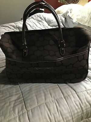 Ralph Lauren Chaps Rolling Monogram Brown Luggage Travel Bag. EUC!!!
