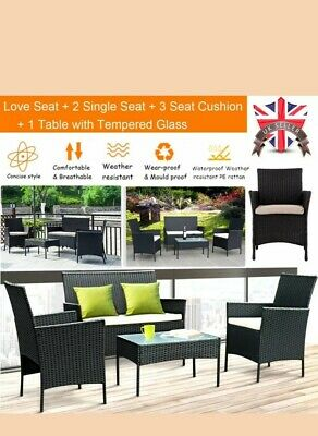Patio Black Rattan Garden Furniture 4Piece Set Table Chairs sofa cushion Outdoor