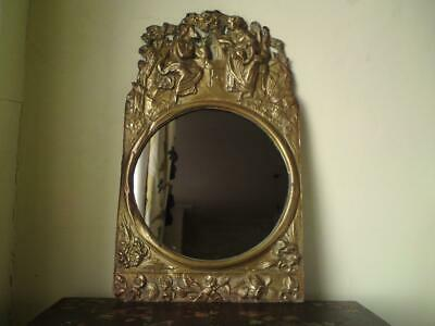 Antique French comtoise Morbier repousse brass clock face converted to a mirror