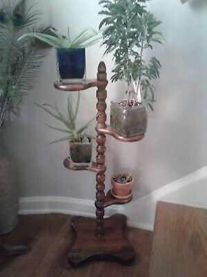 Vintage 4 Tier Wooden Plant Stand Solid Turned Wood Mid Century Modern