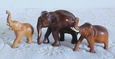 3 Small Vintage Carved Wood Wooden Elephant Figurines Figures