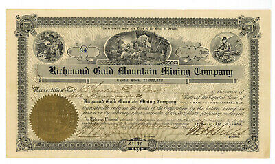 Richmond Gold Mountain Mining Company. Stock Certificate. Nevada