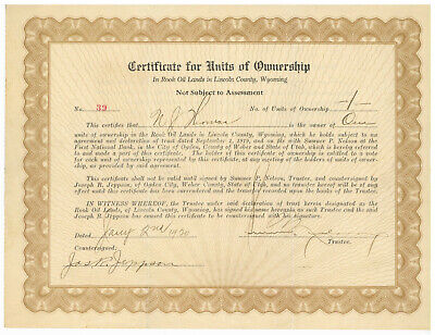Rook Oil Lands. Stock Ownership Certificate. Lincoln County Wyoming. 1920