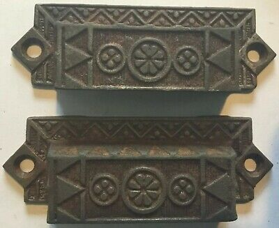 ANTIQUE EASTLAKE CAST IRON DRAWER BIN PULLS 1870S TO 1890S