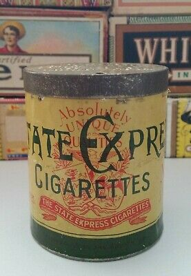 """Vintage """"State Express"""" Cigarettes  Tin Empty  C1900S"""