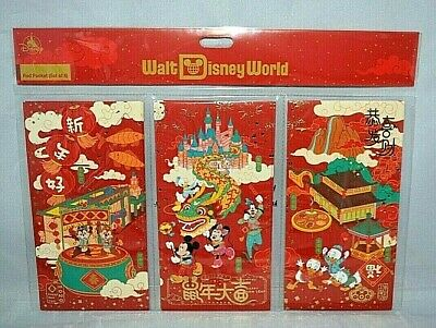 2020 Chinese New Year Lucky Red Envelope Disney Mickey Minnie Mouse 6 pcs