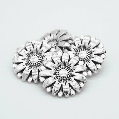 Metal Alloy Sunflower Carved Antique  Sewing Craft DIY Silver Shank Buttons