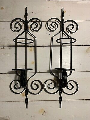 Set Of 2 Black Metal Wrought Iron Scroll Wall Sconces Candle Holders Home Decor