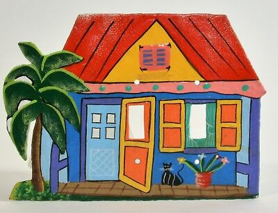 Beach House Bungalow Scene Light Switch Plate Cover Cat Palm Tiki Hand Painted