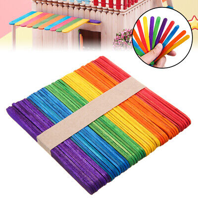 Craft Sticks Wooden Lollipop lolly Natural Lollies Ice Pops Kids Coloured 120Pcs