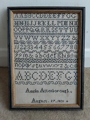 Small Early 19th Century Antique Sampler ~ Amelia Attenborough  ~ Dated 1831