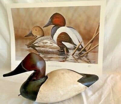 Broderick Crawford Duck Decoy and NC Treasures Print 2014-15 Ducks Unlimited