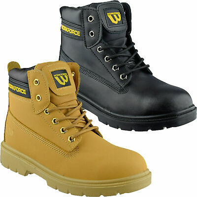 Mens Leather Ankle Safety Boots Steel Toe Cap Lace Up Work Boots Hiker Shoes Sz